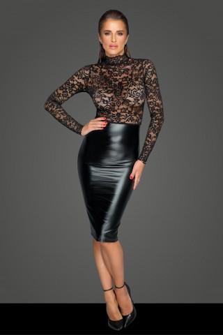 Секси разкриваща рокля от фигурална мрежеста материя и Еко кожа на Noir Handmade