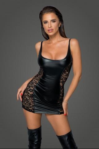 Секси къса рокля от фигурална мрежеста материя и Еко кожа на Noir Handmade