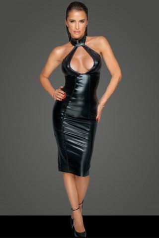 Секси рокля с голямо деколте и гол гръб от Еко кожа на Noir Handmade