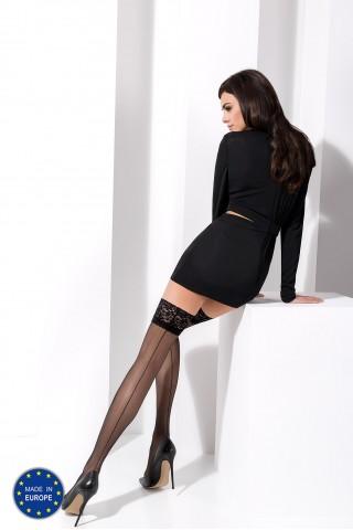 Тънки луксозни силиконови чорапи със фигурална дантела на Passion
