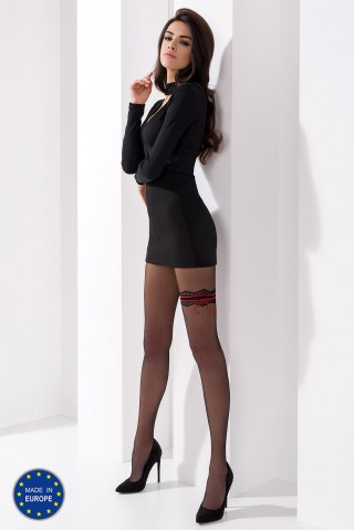 Секси тънък чорапогащник с цветна имитация на жартиер на Passion