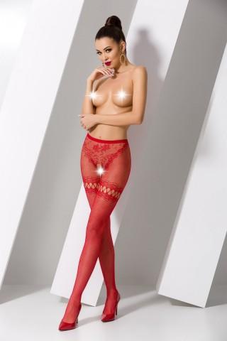 Секси изрязан червен мрежест фигурален чорапогащник на Passion