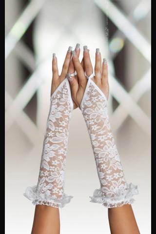 Дантелени бели ръкавици без пръсти на Soft Line Collection