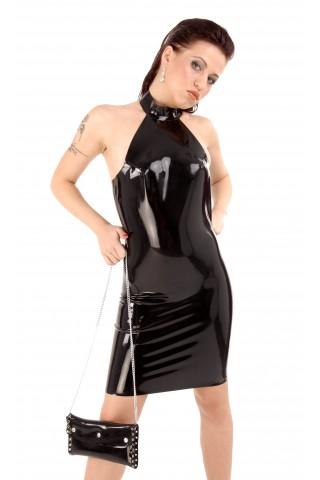 Супер секси латексова рокля със гол гръб