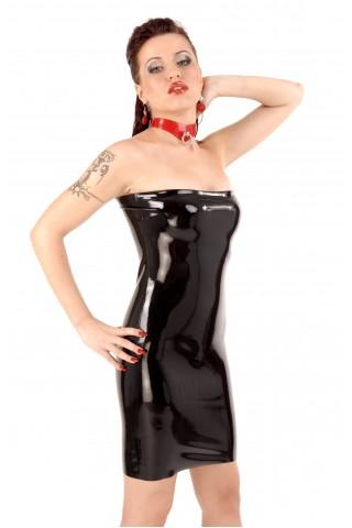 Секси латексова рокличка тип бюстие с цип на гърба