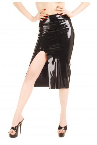 Секси дълга латексова пола с широка цепка отпред