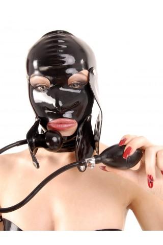 Латексова маска за глава със надуваема тапа за устата
