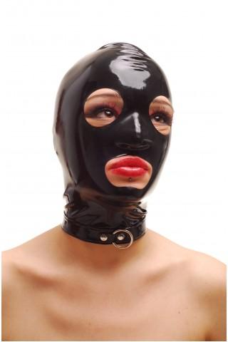 Латексова маска за глава със цип отзад и метални халки