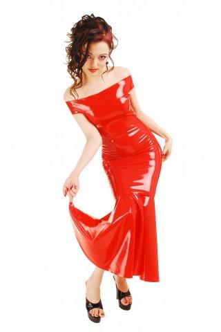 Невероятна рокля от Латекс със паднали рамене