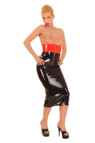 Латексова двуцветна пола със много висока талия