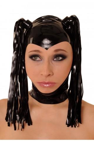 Латексова маска за глава с две конски опашки и цип отзад