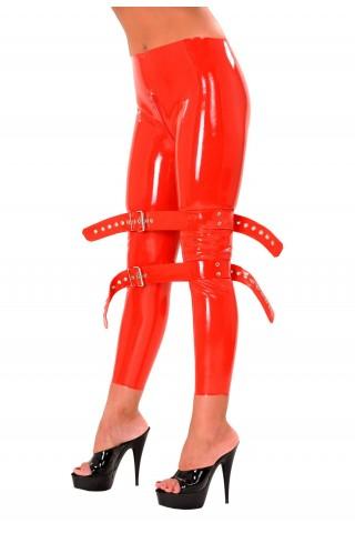 Латексов дълъг клин със колани за обездвижване и цип между краката