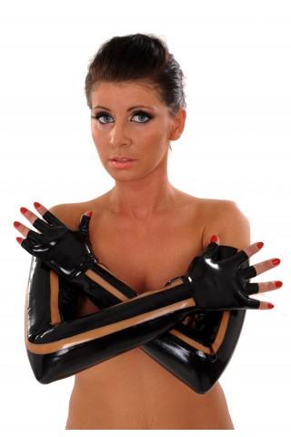 Много дълги и секси латексови ръкавици с цветни елементи