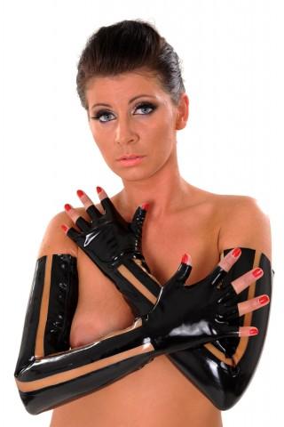 Дълги и секси латексови ръкавици с цветни елементи и цип