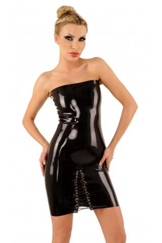 Изчистена тясна рокля от Латекс със цепка отпред със връзки и цип отзад