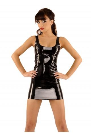 Секси и игрива рокля от Латекс със еротични ципове на гърдите