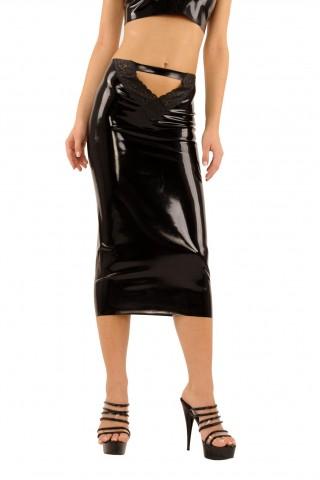 Дълга и секси латексова пола с дантела отпред