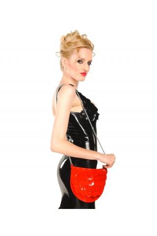 Игрива и нежна дамска чанта от Латекс със метална верижка