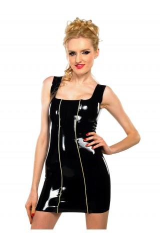 Латексова рокля със бели тънки ивици отпред и дълбоко деколте