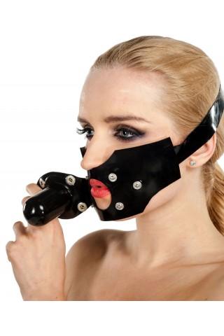 Латексова маска за уста със тапа и дилдо