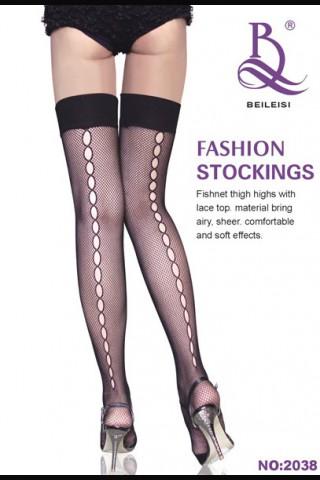 Мрежести чорапи с плътна силиконова лента и отвори отзад