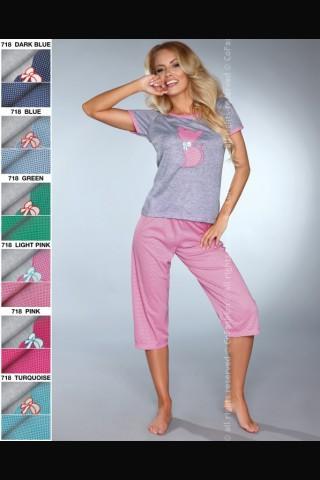 Комплект секси дамска пижама на Co Fashion - сиво с нежно розов цвят