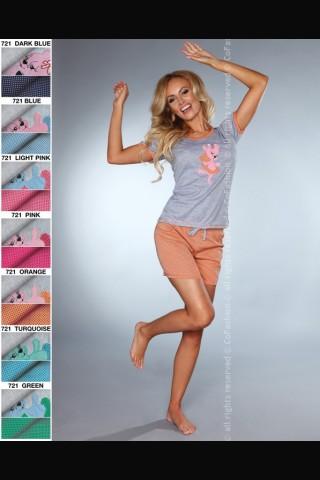 Комплект секси дамска пижама на Co Fashion - сиво с портокалов цвят