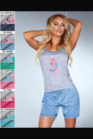 Комплект секси дамска пижама на Co Fashion - сиво с тъмно син цвят
