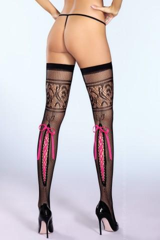 Секси мрежести чорапи със игрива сатенена лента отзад на CoFashion - Rima