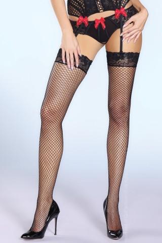 Черни мрежести чорапи за жартиери на Co Fashion