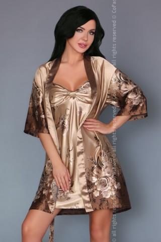 Изключителен сатенен комплект нощница с халат на CoFashion - Venida