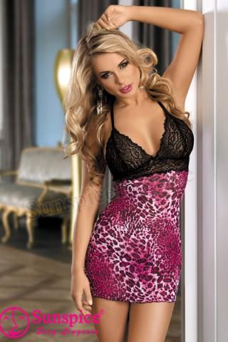 Секси леопардова нощничка с черна дантела