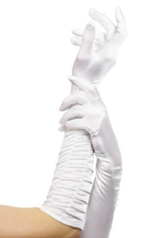 Дълги сатенени ръкавици - бели
