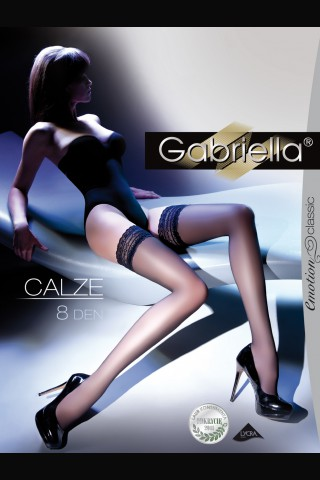 Тънки и елегантни чорапи със широка дантела - Gabriella 8 DEN