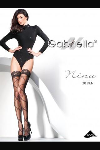 Дълги черни силиконови чорапи 20 DEN - Gabriella Nina