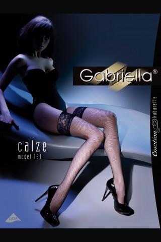 Дълги мрежести чорапи със 12 см. дантела и силиконова лента - Gabriella