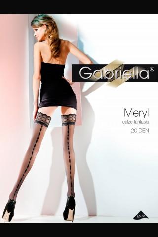 Дълги фигурални чорапи с широка дантела - Gabriella Meryl