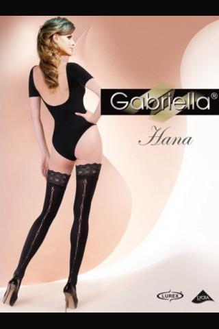 Дълги черни чорапи с фигурална лента отзад и дантела - Gabriella Hana