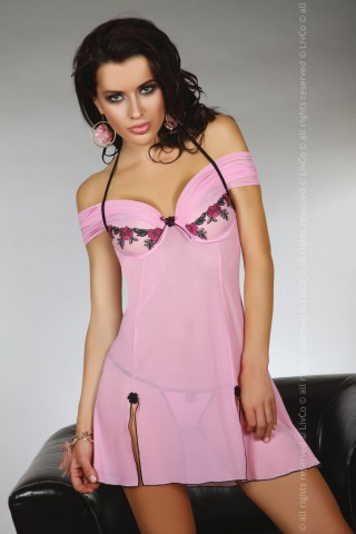 Секси нежно розова нощничка - LivCo Chameli