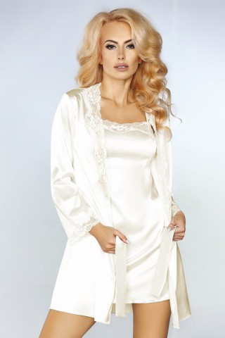 Невероятно нежен сатенен бял комплект нощница с халат - LivCo Jacqueline