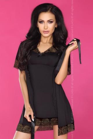 Къса нощничка със цветна дантела в комплект със къс халат - LivCo Keisha