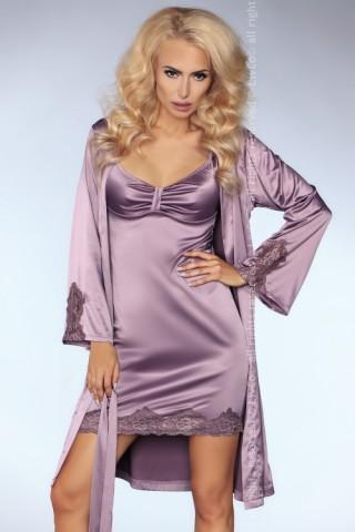 Изключително секси лилав сатенен комплект нощница с халат - LivCo Noelle