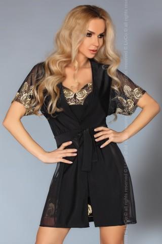 Комплект секси нощница с халат и златиста бродерия на LivCo - Aliora