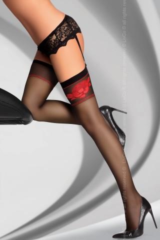 Фигурални цветни чорапи за жартиери на LivCo - AMARACHIA 20 DEN
