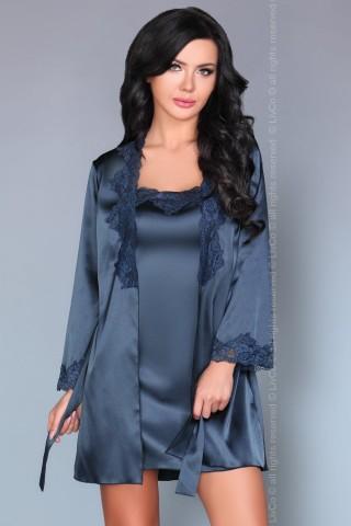 Невероятно нежен сатенен тъмно син комплект нощница с халат - LivCo Jacqueline