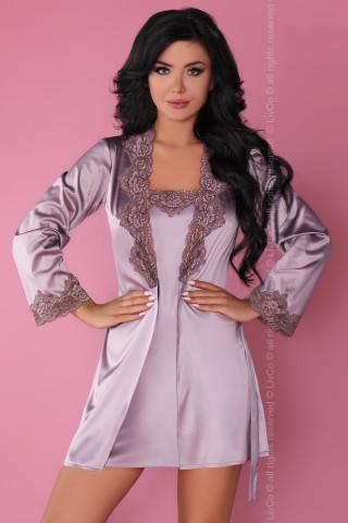 Секси сатенен светло виолетов на цвят комплект нощница с халат - LivCo Jacqueline