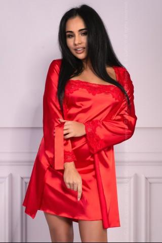 Секси комплект сатенена нощница и халат на LivCo Corsetti - Jacqueline red
