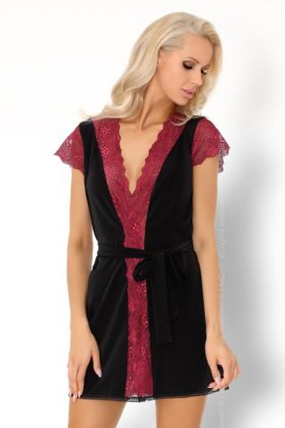 Секси черен халат с червена дантела на LivCo Corsetti - Kumiko