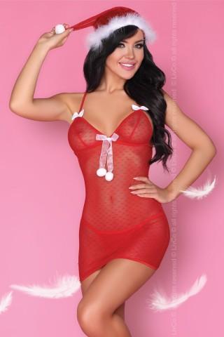 Секси прозрачна коледна рокличка в комплект със шапчица на LivCo - Laurita