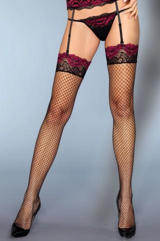 Черни мрежести чорапи за жартиери с цветна дантела на LivCo Corsetti